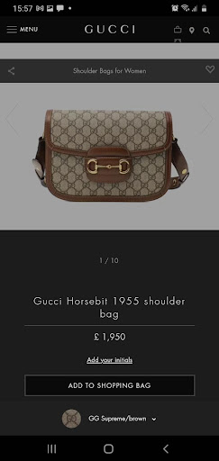 """Gucci's use of the """"Add to Cart"""" button."""