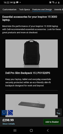 Dell laptop product page with supplemental recommendations.